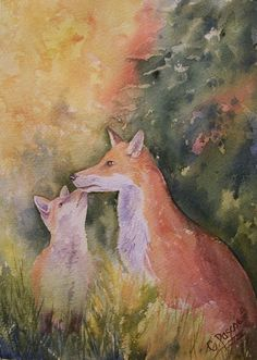 Vixen and Cub Watercolour Painting by CPascoeWatercolours on Etsy