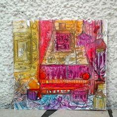 Carte peinte à la main chambre bohème peinture aquarelle sur papier : Cartes par coralie-bellal