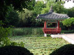 (Garden in Jejudo / Jeju Adası'nda bir bahçe)  Kore bahçeleri, doğal, basittir, onları daha az resmi olan ve doğal dünya ile birleştirmeye çabalıyorlar. Onlar en fazla iki bin yıl geriye gidiyor ama az da olsa batıda bilinen bir geçmişleri var.
