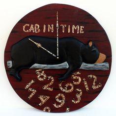 "Cabin Clock, Lodge Clock, Whatever Clock,  17""  Bear Clock - With carved lazy bear, Wall Clock, rustic clock"