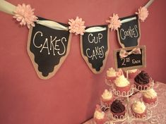 Chalk cloth and burlap banners.