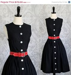 1950s Black Cotton Day Dress $52 by SassySisterVintage