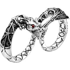 John Hardy Naga Silver Two-Finger Dragon Ring ($795) ❤ liked on Polyvore featuring jewelry, rings, accessories, silver, pave ring, silver rings, african jewellery, john hardy rings and double-finger ring