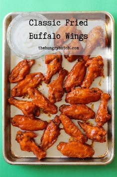 These classic wings are simply seasoned, pan-fried to perfection, and tossed in a luscious Buffalo sauce for a finger-licking good time. Seasonal Food, Fall Food, Food Dishes, Main Dishes, Fall Recipes, Healthy Recipes, Vegetarian Main Course, Fried Chicken Wings, Buffalo Wings