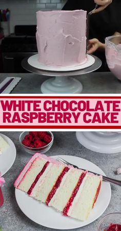 This white chocolate raspberry cake is the perfect balance of tart & sweet! Its fluffy white cake layers and tart raspberry filling make it irresistible! Raspberry Cake Filling, Raspberry Dessert Recipes, Cupcake Filling Recipes, Raspberry Torte, Fondant Recipes, Fondant Tips, Strawberry Frosting, Strawberry Cake Recipes, Cake Tutorial