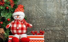 Download wallpapers Snowman, Christmas tree, toy, gray wall, New Year, winter