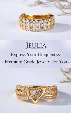 Express your love. Jeulia Yellow Gold WEDDING RING. This gold-tone band features in its heart design in the middle. Moreover,some sidetones are well set on the shank,making the band more brilliant and charming. #JeuliaJewelry