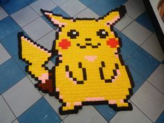 Wow. Awesome crochet Pikachu blanket.