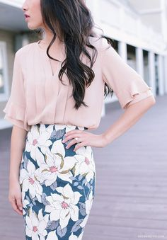 Ann Taylor ruffle pintuck blouse, floral skirt, tweed blazer, bow pumps - c/o Ann Taylor's latest collection has got to be one of my favorites from them...the soft blush + navy color scheme, feminine