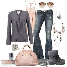 Muted Pink and Charcoal, created by pamnken on Polyvore