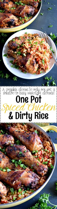 One Pot Spiced Chicken and Dirty Rice - Everyone loves one-pot dinners, and this one has it all – grains, veggies, and protein.  One Pot Spiced Chicken and Dirty Rice is flavourful and has a nice spicy kick; and only one pot to clean!