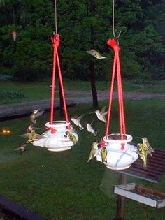 Hand thrown pottery humming bird feeders [THINKING OF GETTING THIS, I love humming birds]