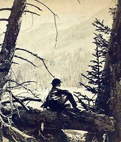 Old photos in 3-D - Reaching for the Out of Reach 60: A young man rests at Peru Fork, Colorado, circa 1875. [ more from this project (nypl  permalink) ]