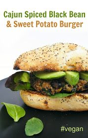 Tinned Tomatoes: Cajun Spiced Black Bean and Sweet Potato Burgers
