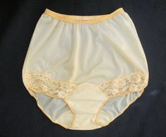 2c94792a394f Vtg Vanity Fair Yellow Lace Inset Legs Brief All Nylon Panties Size 4 Pillow  Tab #VanityFair #BriefsHiCuts