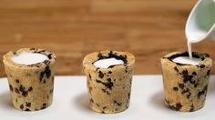 Cookie Cups Inspired by Dominique Ansel's Cookie Shots: Dominique Ansel, maker of the Cronut, intrigued Americans with one of his latest creations: the Cookie Shot, a chocolate chip cookie cup filled with vanilla milk and inspired by the classic American pairing.