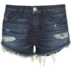 3X1 Women's Cavo Cut Off Shorts (€180) ❤ liked on Polyvore featuring shorts, bottoms, pants, dark denim, ripped shorts, high waisted cut off shorts, high-rise shorts, dark denim high waisted shorts and destroyed shorts