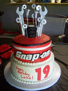 snap on tools cake--gumpaste tools, nuts, and bolts