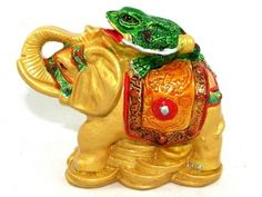 About Money Frog on Elephant  The Wish-fulfilling Elephant is a prominent symbol of strength, protection, wisdom, dignity, leadership qualities and courage.  The Money Toad, on the other hand, is well-known symbol of excellent wealth luck. When these two auspicious animals are combined, they mean stability and victory in your career and business and your quest in money-making.