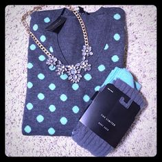 The Limited sweater Adorable mint and gray polka dot sweater from The Limited. The back is all gray. Matching boot socks are also for sale in closet. Bundle to save more! NWT. No trades please. The Limited Sweaters V-Necks