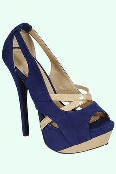 Fancy Feet-Blue  Sexy Peep Toe with crisscross design  $43.20  5.5, 6,6.5,7,7.5,8,8.5,9,10  www.ClassyChickClothingOnline.com