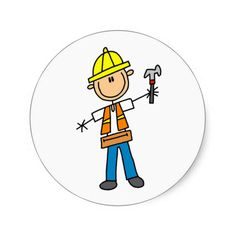 Shop Construction Worker with Hammer Sticker created by stick_figures. Construction Theme, Construction Worker, Nurses Week Quotes, Truck Paint, Stick Figures, Planner, Mug Designs, Stone Art, Painted Rocks