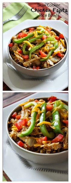 Slow Cooker Chicken Fajita Rice Bowls from 365 Days of Slow Cooking; this sounds perfect for a family dinner, just skip the peppers for any family members who don't like them.  [Featured on SlowCookerFromScr...]