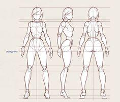 Основные пропорции фигуры. Голова пускай будет шириной как расстояние между плечами и талией. Длина тела в 7 голов. Локти расположены на уровне с рёбрами. Пальцы достают до середины бедра. Нижняя часть ноги той же длинны, что и верхняя.