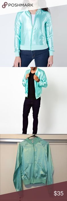 American apparel unisex Satin bomber Lightweight satin bomber, teal, turquoise color, marked as size XS for unisex. I'd say it'll fit a women's small - medium best. I'm a small and it's a little bit loose on me. new with out tags. Tiffany blue. American Apparel Jackets & Coats