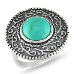 Looking at 'Sterling Silver Round Turquoise Gemstone Fancy Scroll Design Ring' on SHOP.CA