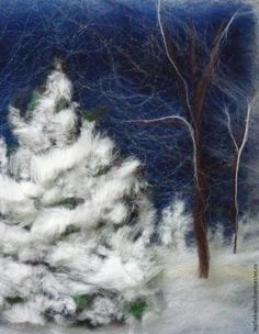 Felt Winter landscape with snow over tree (not in English) but a great photo tutorial. Needle Felted Animals, Felt Animals, Felt Pictures, Creative Textiles, Needle Felting Tutorials, Wool Art, Nuno Felting, Winter Landscape, Felt Christmas