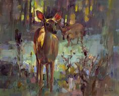 Young Doe, Painting by Tom Nachreiner Wildlife Paintings, Wildlife Art, Animal Paintings, Landscape Paintings, Deer Paintings, Landscapes, Toms, Farm Art, Illustrations