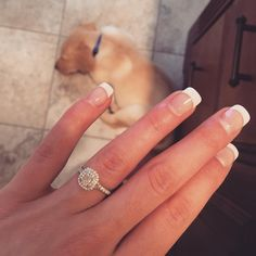 Sparkles on sparkles!! Not sure what's better, that double halo engagement ring, or the cute puppy he proposed with.