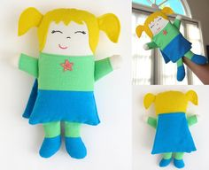 Super Doll! Puppet and Doll Sewing Pattern Options included by MyFunnyBuddy