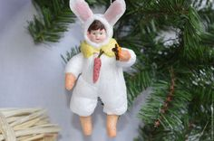 """Купить Ватная ёлочная игрушка """"Зайка"""". Коллекция """"Дети в новогодних костюмах"""" - белый, мальчик, зайка"""