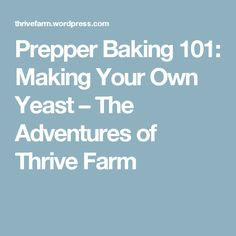 Prepper Baking Making Your Own Yeast – The Adventures of Thrive Farm Paros, Food Prep Storage, Yeast Free Breads, Cooking Tips, Cooking Recipes, Bread Bun, Make Your Own, How To Make, Bread Recipes