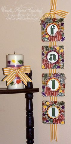 Stampin' Up! Fall Banner & Candle - Fall Fest and Larger Than Life Alphabet & Numbers - Craft Project Central - Create With Christy - Christy Fulk, Stampin' Up! Demo