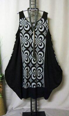 Lagenlook Ballon-Kleid, AKH LABINA COCAN schwarz/silbergrau one size
