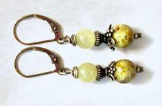 Maggies Beadery pale yellow beaded Sterling Silver leverback earrings.