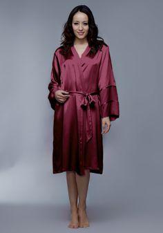 Silk women nightwear robes--Date-Red robes #Silk #robes   Revesilk.com