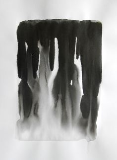 A2 Modern Abstract Black and White Ink Wash Painting by Manjuzaka