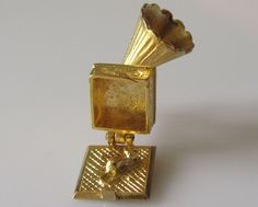 Large Gold Gramophone and Mouse Charm Opens by TrueVintageCharms on Etsy