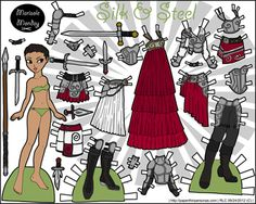 Fantasy warrior paper doll in full color for printing. She has lots of armor pieces.