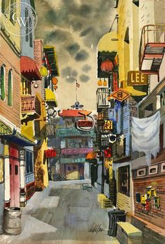 Chinatown Alley, c. 1940, California art by Jake Lee. HD giclee art prints for sale at CaliforniaWatercolor.com - original California paintings, & premium giclee prints for sale