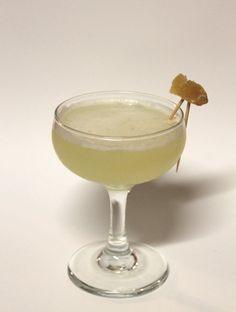 side of ginger cocktail: ginger liqueur, tequila, lime, honey syrup