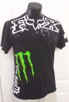 dd8cff3695c Fox Monster Energy 4 Ricky Carmichael Ride Hard Logo Black T-Shirt 2XLarge  Rare!