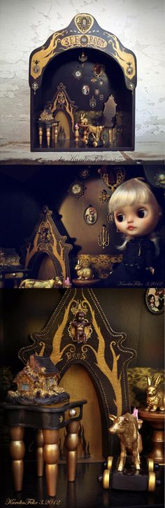 Bees room - ooak Victorian dollhouse. for Blythe Pullip Dal and other 1/6 scale dolls.  Unique roombox  with miniature furniture.