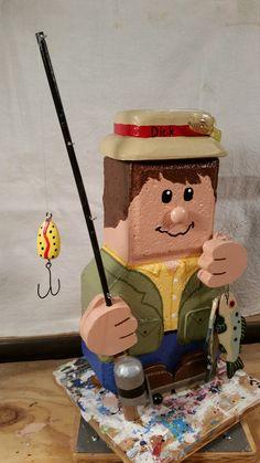 Fisherman made by Debra Jasper Painted Bricks Crafts, Brick Crafts, Painted Pavers, Stone Crafts, Cement Pavers, Brick Pavers, Diy Craft Projects, Fun Crafts, Craft Ideas