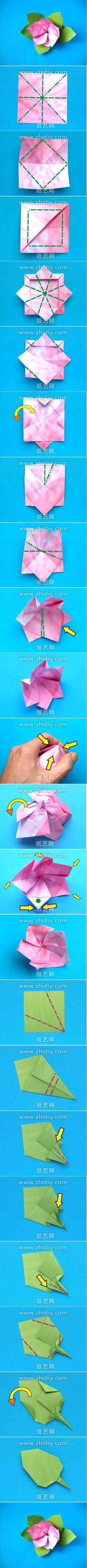 Origami Azalea Flower Folding Instructions / Origami Instruction