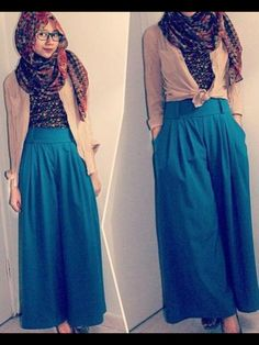 Wide leg pants!   (Picture taken from My Algerian Hijab Fashion)